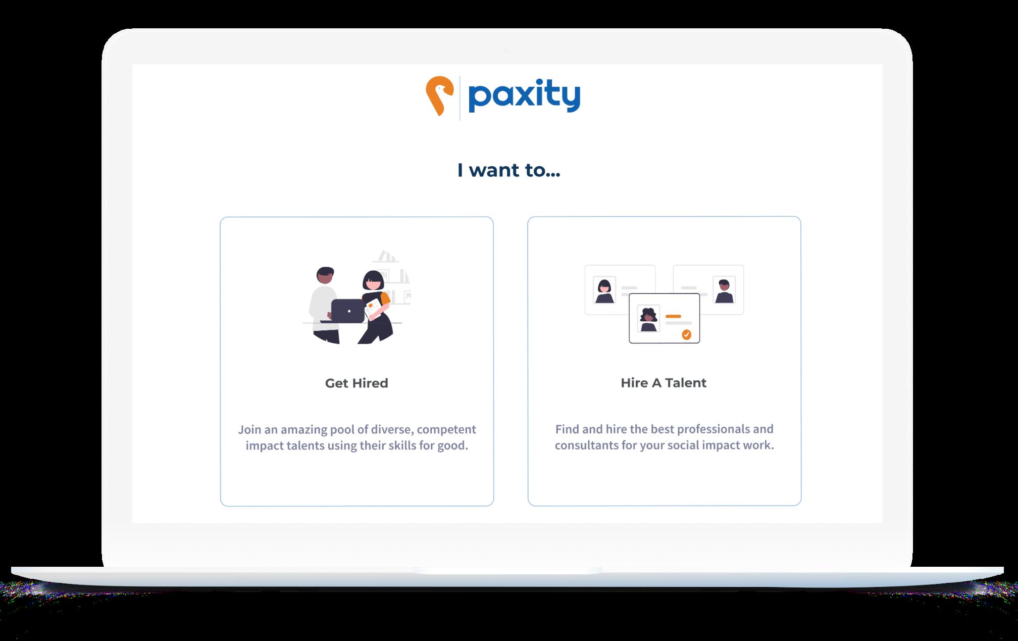 Paxity landing page mockup