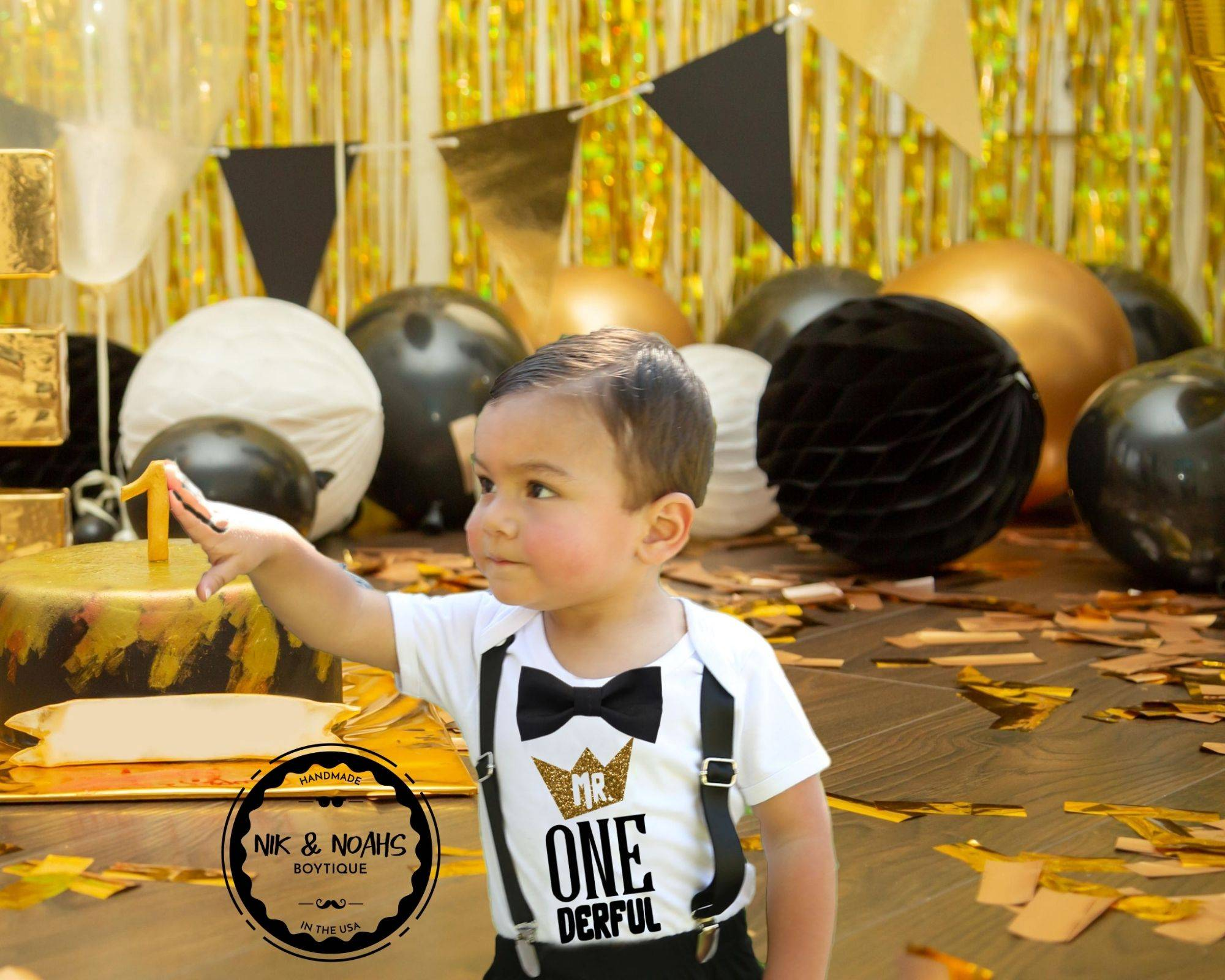 mr onederful first birthday outfit baby boy black and gold party theme ideas cake smash onesie