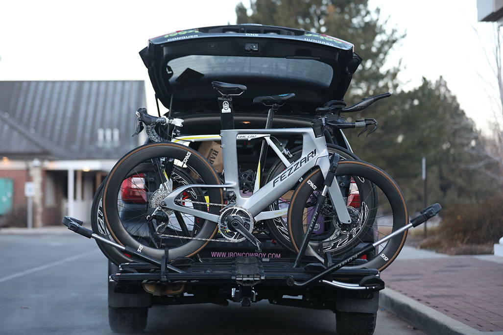 Full bike rack on back of an SUV