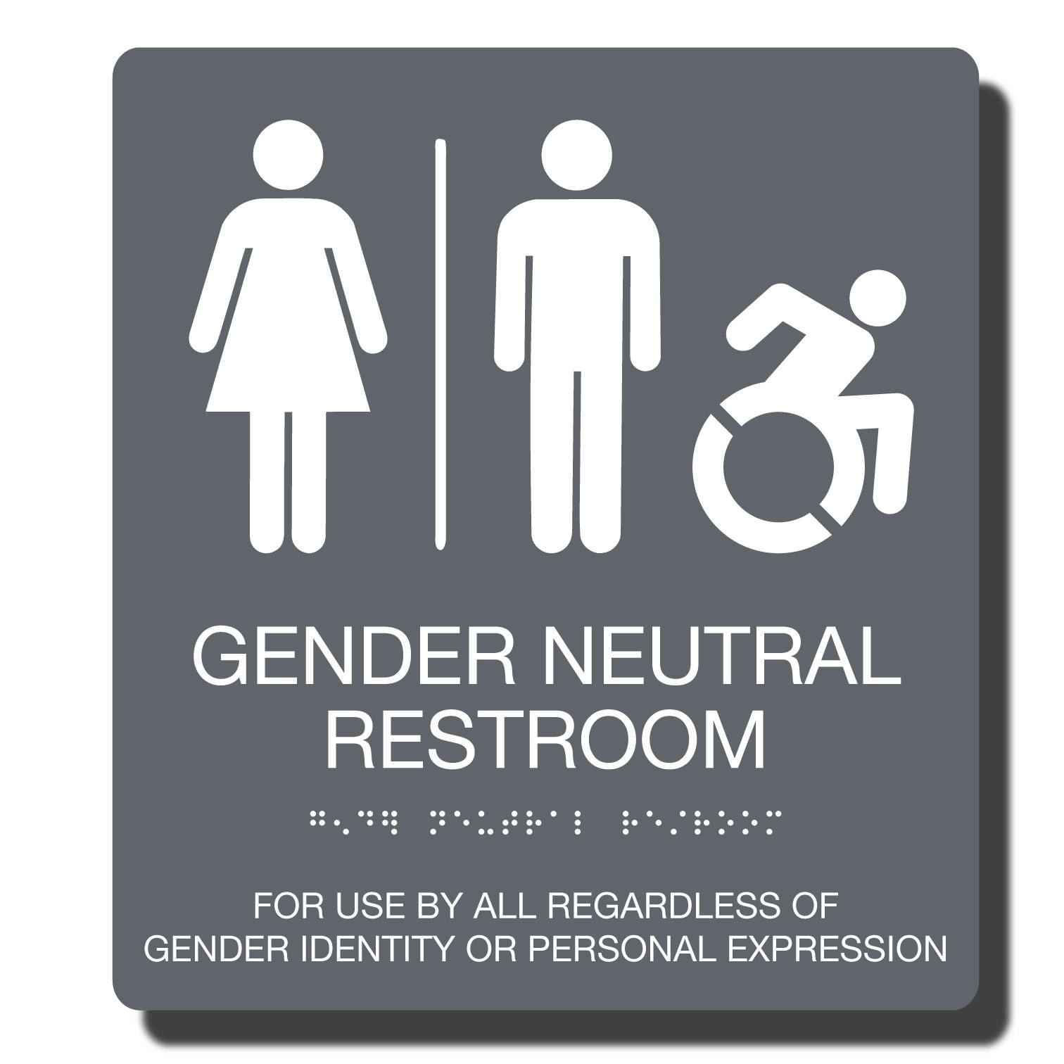 ADA Gender Neutral Compliant Restroom Sign_available in 23 Color Combinations