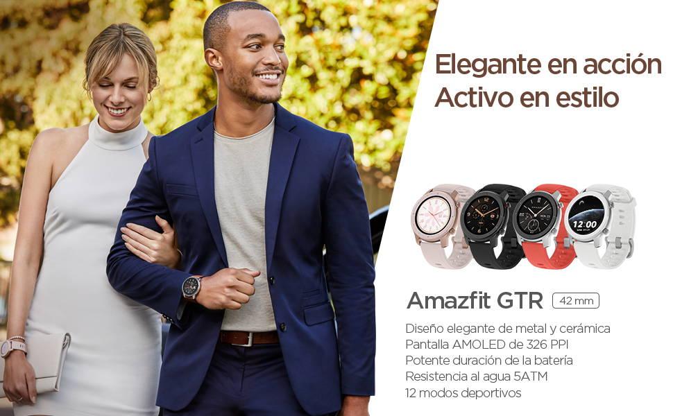 Amazfit GTR 42mm - Elegante en Acción, Movimiento con Estilo | Elegante diseño de cerámica y metal | Pantalla AMOLED 326 ppi  Batería de larga duración | Sumergible a 50 metros | 12 modos de deportes
