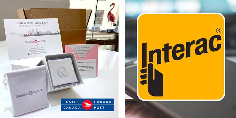 Ensemble de boîtiers Flamme en rose pour effectuer des envois postaux avec logos de Postes canada et Interac.