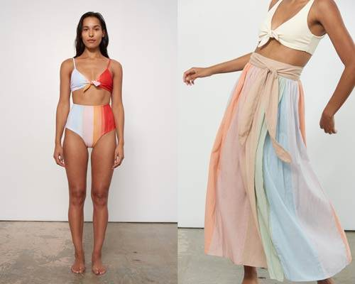 Woman wearing striped high waisted bikini bottoms in pastel hues with matching tied bikini top from luxury sustainable women's fashion brand Mara Hoffman and woman wearing cream tied bikini top and striped pastel long floaty skirt also from Mara Hoffman