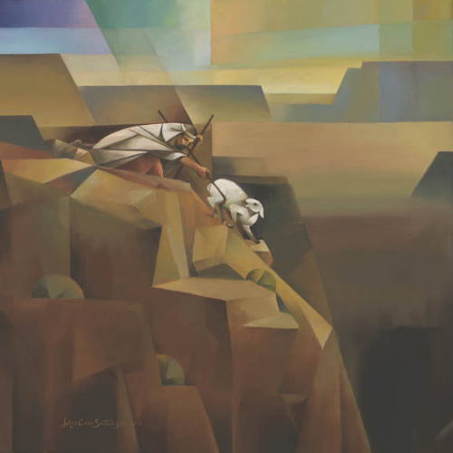 Abstract painting of Jesus resucing the lost sheep from falling off a steep ledge.