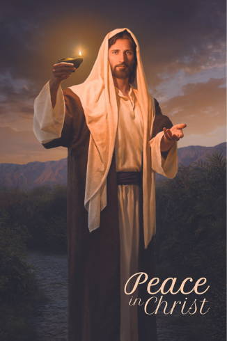 """Inspiring poster of Jesus holding a lamp and extending a hand. Text reads: """"Peace in Christ."""""""