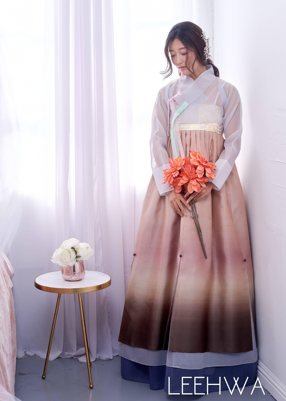 Gradient silk modern hanbok dress