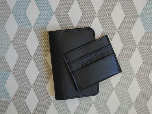 Набор Business Black .Обложка на паспорт и мини-кошелек
