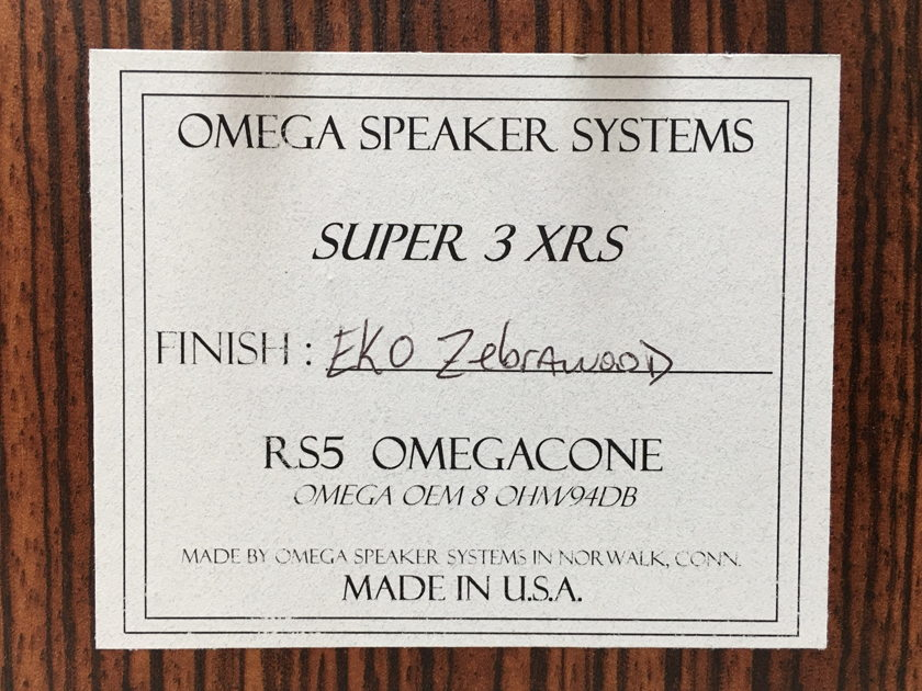 Omega Speaker Systems Super 3 XRS W/ RS5 Driver