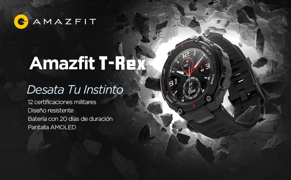 Amazfit T-Rex - Desata Tu Instinto  12 certificaciones militares | Diseño resistente  Batería con 20 días de duración | Pantalla AMOLED