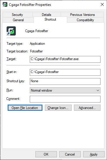 Right click Fotosifter shortcut > Properties > Open file location.