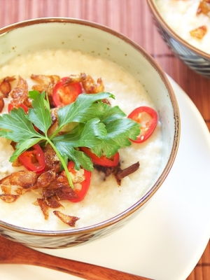 Chicken Porridge with Spices and Coconut Milk
