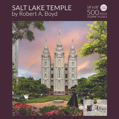Box cover of a 500 piece LDS temple puzzle feautring the Salt Lake City Temple.