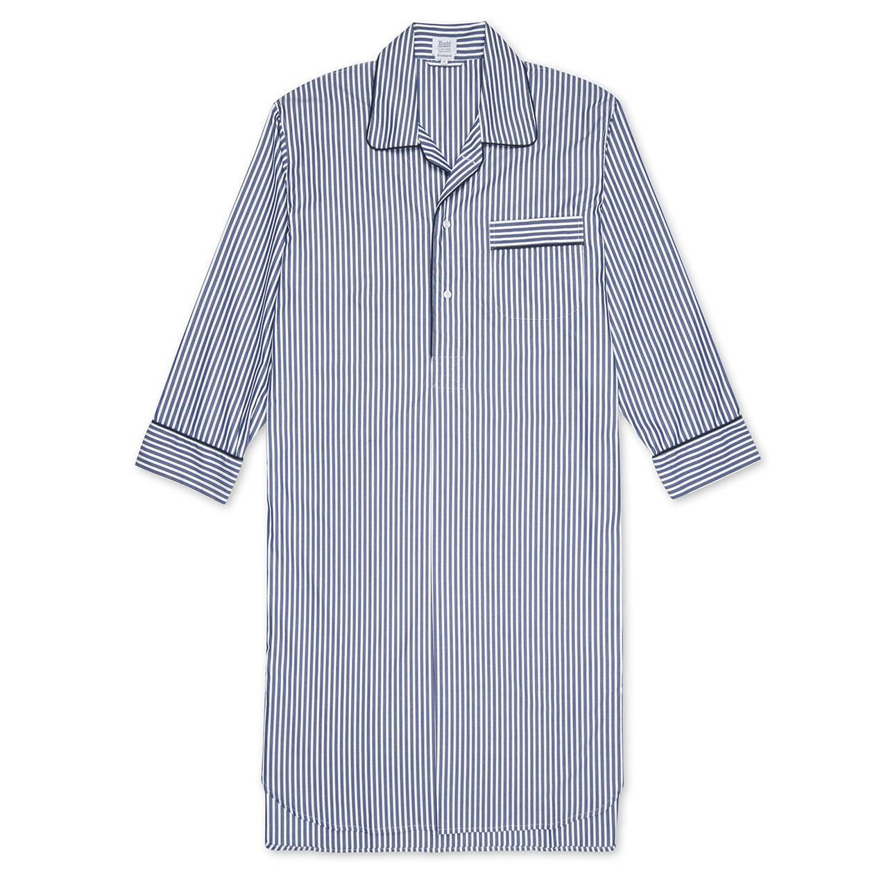 Budd Exclusive Stripe Cotton Nightshirt in Navy