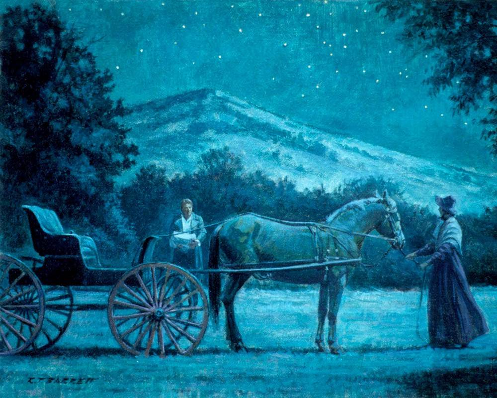Joseph Smith carries the plates from the Hill Cumorah while Emma stands with the horse and carriage.
