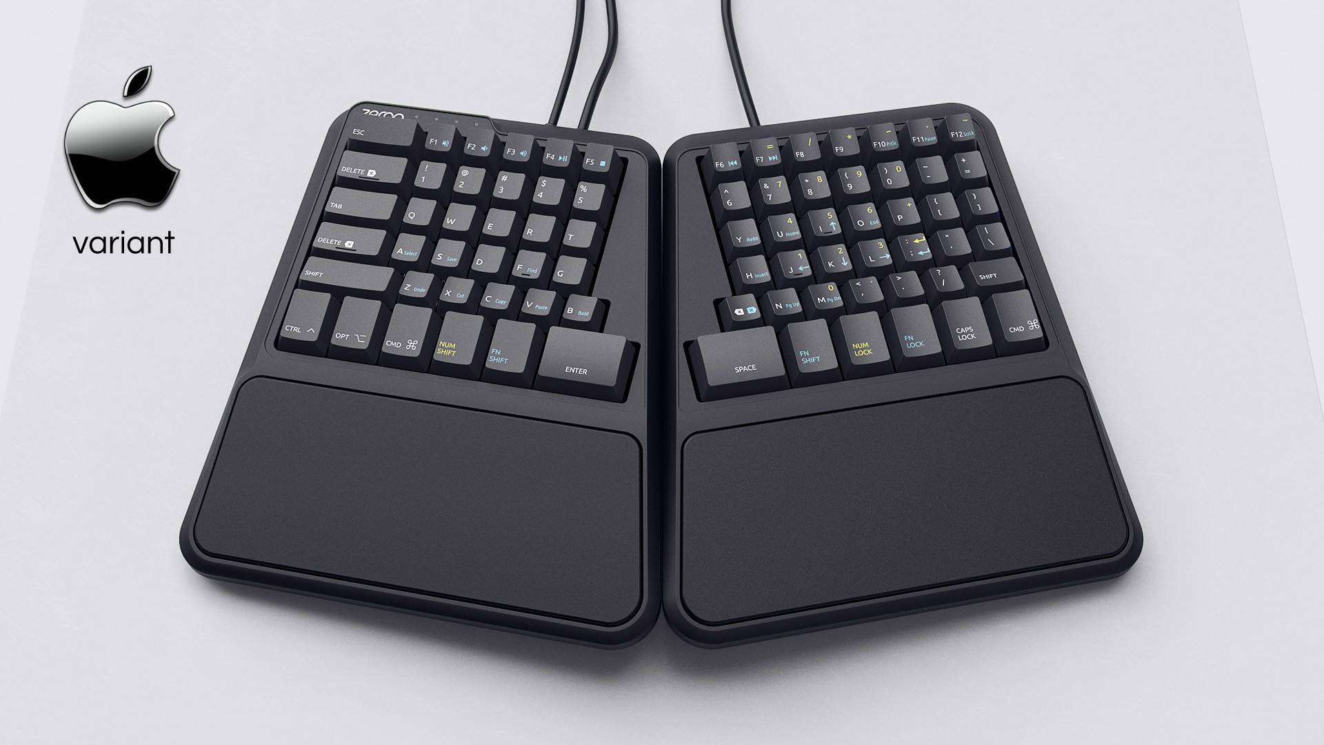 Zergotech Freedom top hero view mechanical keyboard ergonomic fixed palm rests
