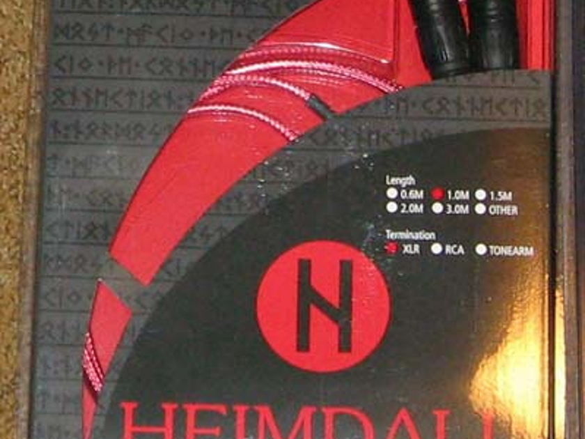 NORDOST HEIMDALL 1M XLR, NEW IN BOX, STOCK CLEARANCE  SALE, WARRANTY!