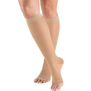 Ladies' Knee High Open Toe Opaque Stockings in Beige