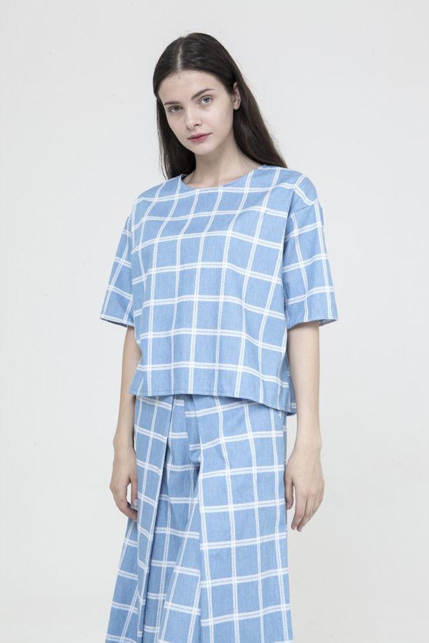Блуза MarineBase голубая в клетку, бренд Futur Outfit