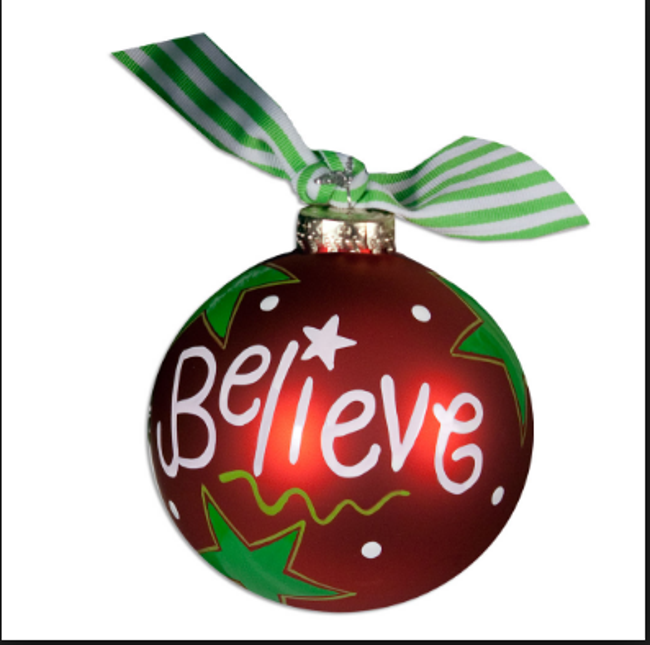 """Christmas tree ornament that says """"believe"""""""