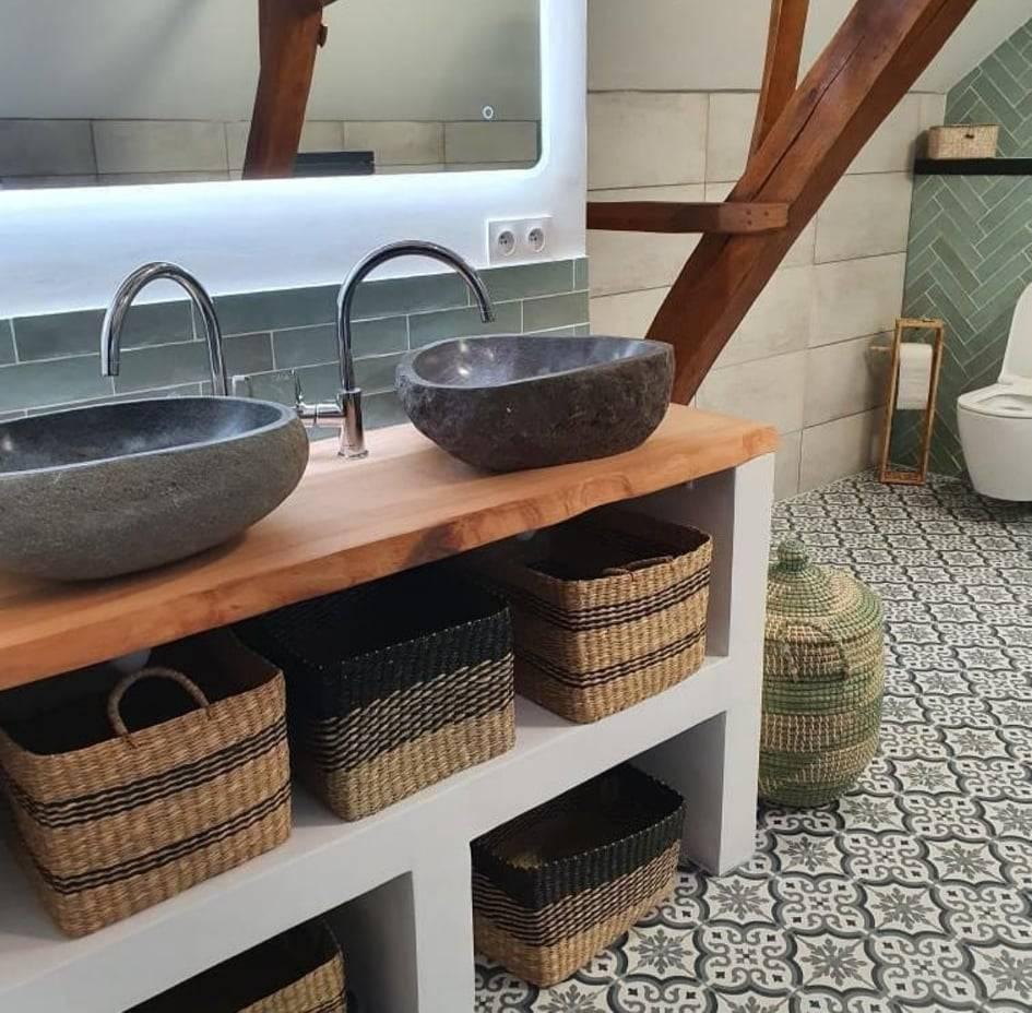 Double vasque bois exotique
