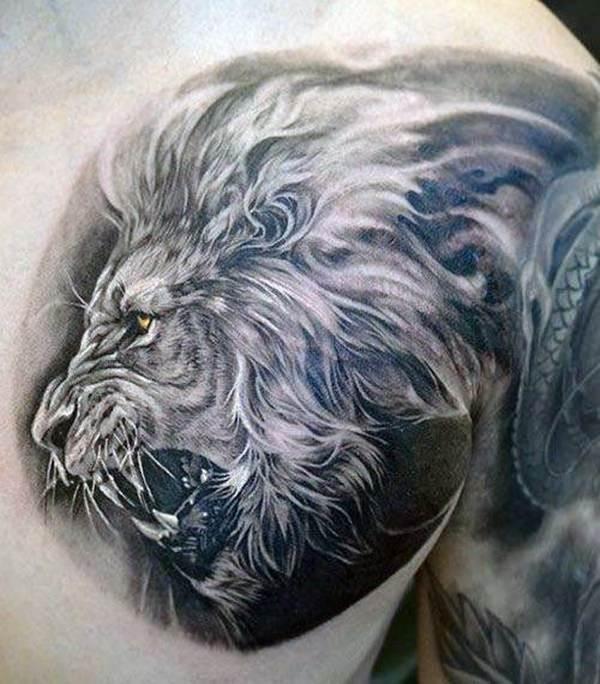 Tatouage Lion Pectoraux et Epaule