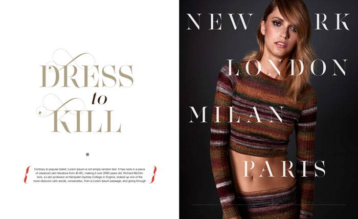 Lingerie Typeface in Fashion magazines