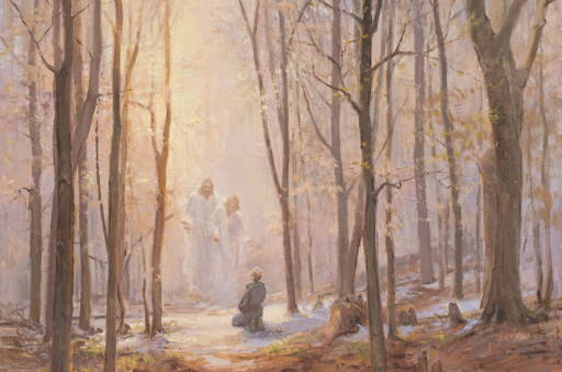 Painting of Joseph Smith praying in the Sacred Grove. Heavenly Father and Jesus Christ stand in the air in front of him.