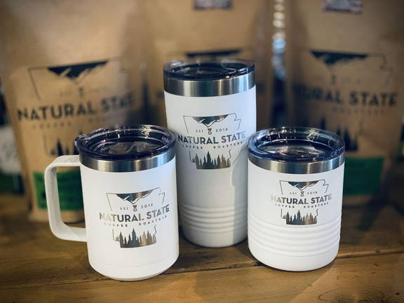 Custom logo water bottles coffee mugs and tumblers happy customer testimonial for promotional products from natural state coffee company