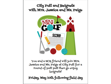Kindergarten- City Putt and Beignets with Mrs. Jessica and Ms. Paige