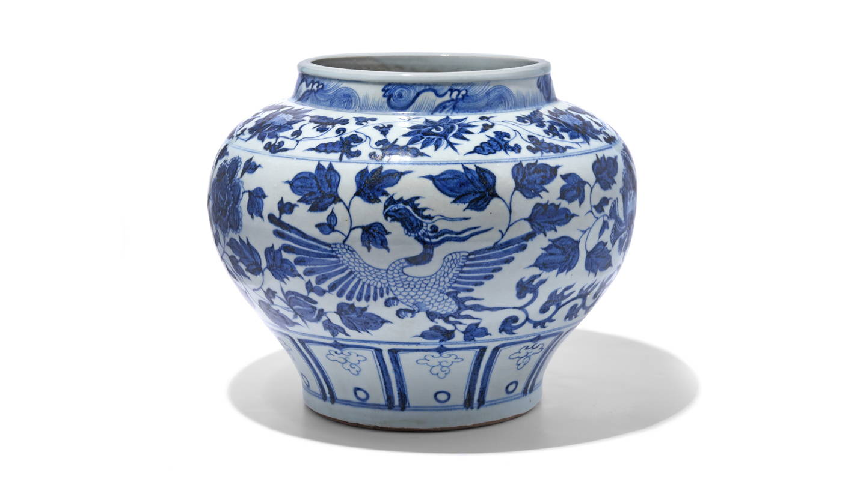 Reproduction Chinese Blue & White Porcelain Jardinière - Peonies & Phoenix | Indigo Antiques