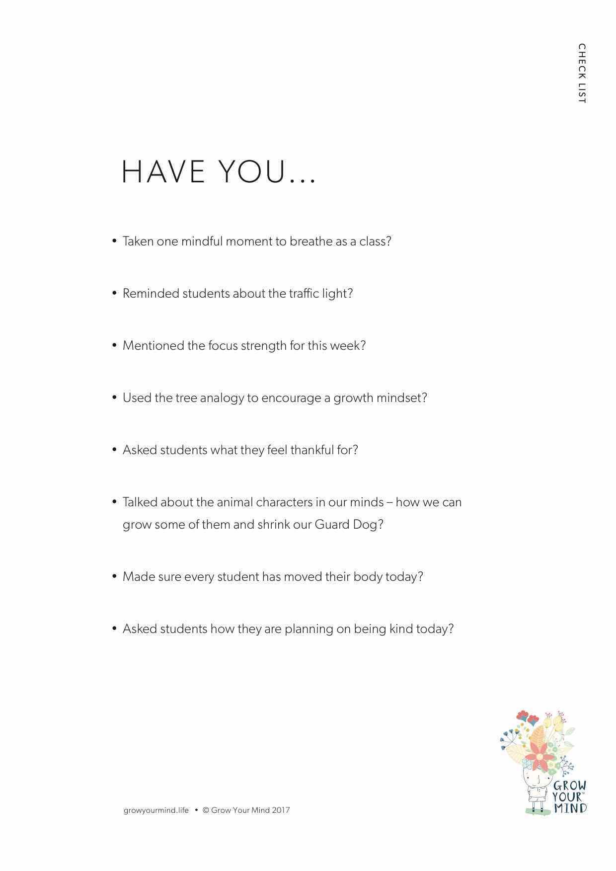 teacher student checklist
