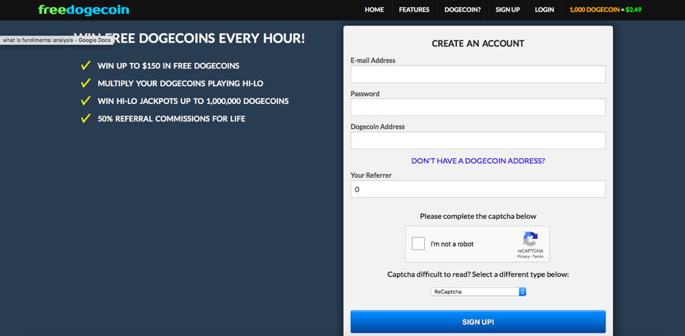 freedogecoin cryptocurrency faucet