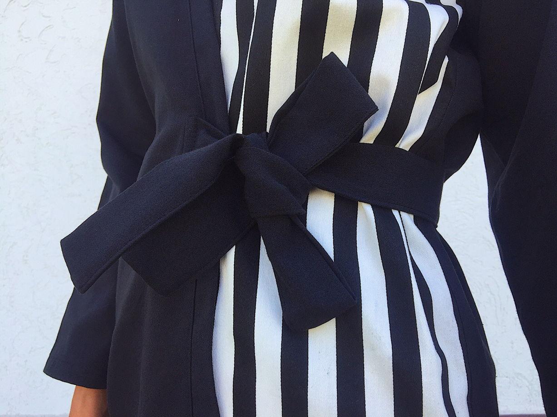 Джинсовое кимоно с полосатым принтом