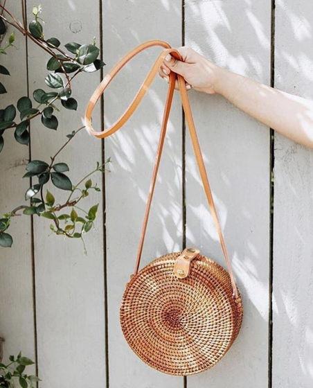 Сумка из ротанга  ручной работы (round bag) цвет - натуральный