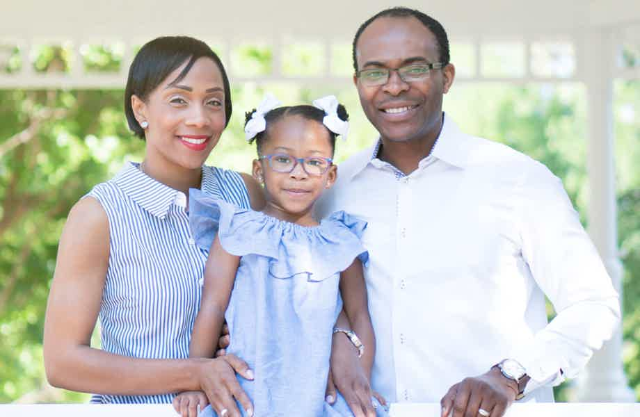 Franchise Owners of Primrose School Sharon and Rawlings Tanyi with their daughter