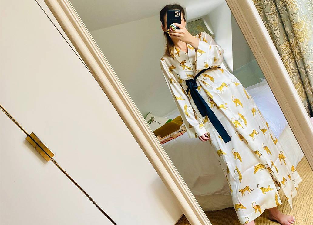 The London Chatter, Kelly Eastwood wears YOLKE's  Prowling Leopard Silk Gown