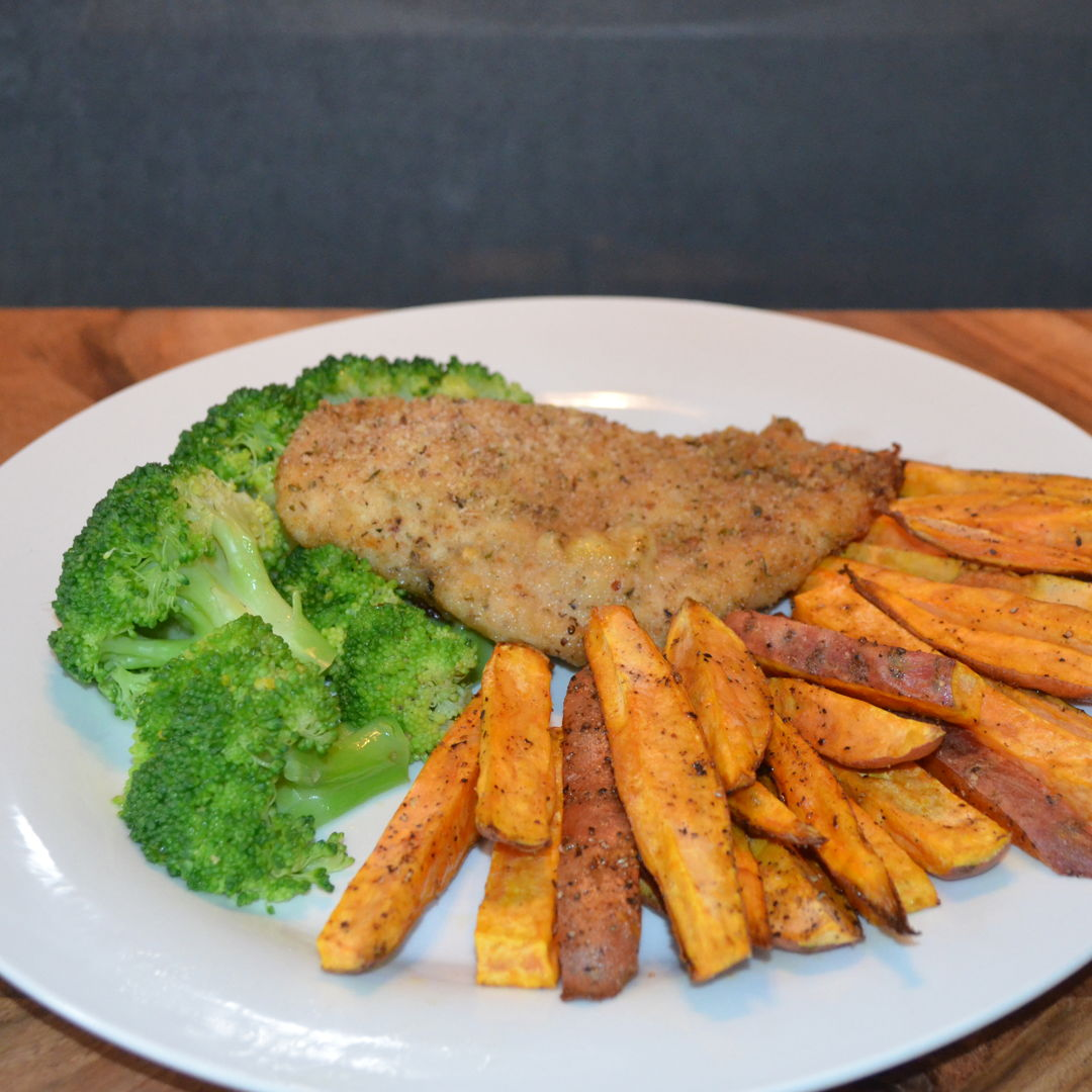 Date: 16 Mar 2020 (Mon) 84th Main: Chicken Run Kiev with Sweet Potato Wedges [275] [157.5%] [Score: 9.5] Cuisine: Russian Dish Type: Main This perfectly crispy chicken oozing with garlicky cheesy goodness is the perfect comfort food. Sweet potato chips provide a little twist on the ol' meat and two veg routine, and whacking everything in the oven means you have more time to relax – and think about how healthy oven baking your dinner is!
