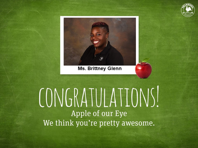 Ms. Glenn is our April Apple of Our Eye!