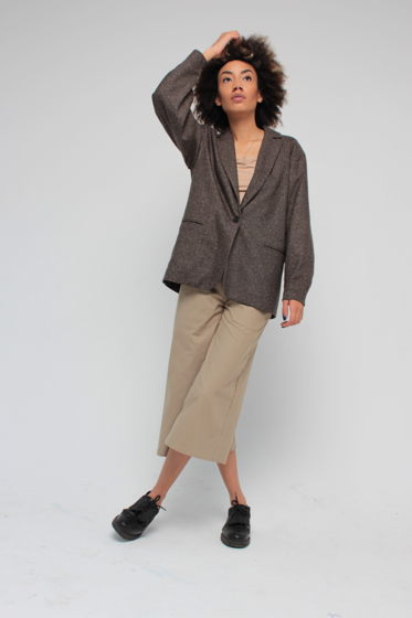 Пиджак из шерсти и шелка свободного кроя