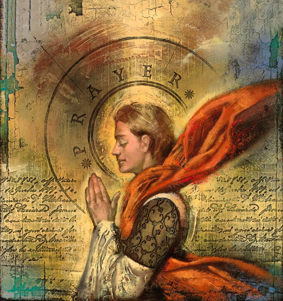 Painting of an angel in a red cloack praying. The image is filled with calligraphy text and various textures.