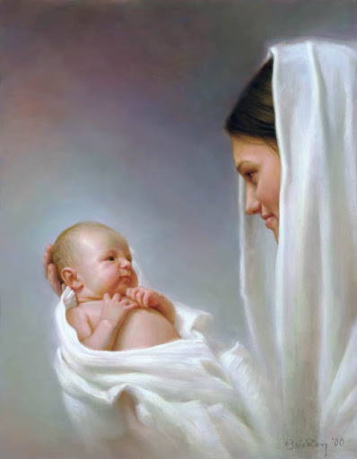 LDS art Nativity print of Mary holding the infant Jesus and smiling gently.