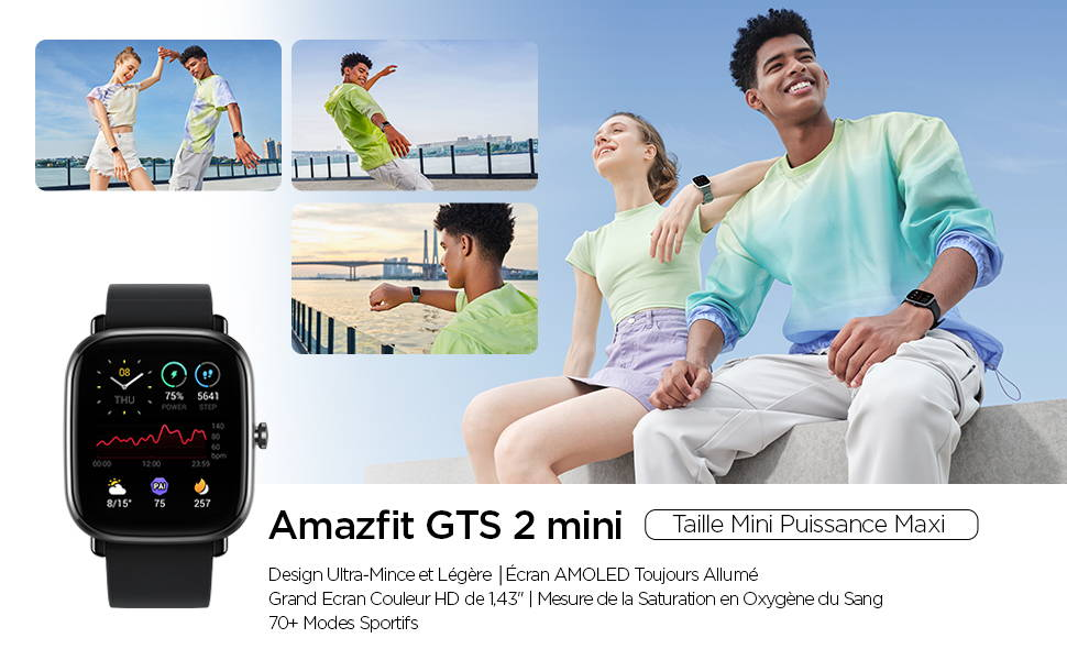 Amazfit GTS 2 mini - Taille minimale, puissance maximale Design ultra fin et léger I Écran AMOLED toujours allumé Mesure de la saturation du sang en oxygène I 70+ modes sportifs