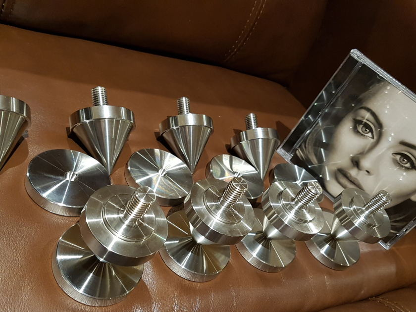 Ultra Stainless Steel  Custom Giant Spikes/Cones & Disks for loudspeakers Set of 16 Thread M12 New $2000