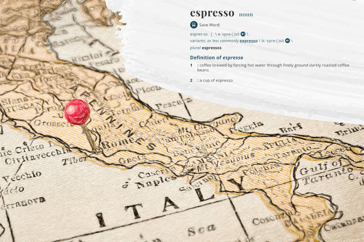 Map of Italy with definition of espresso in upper right corner