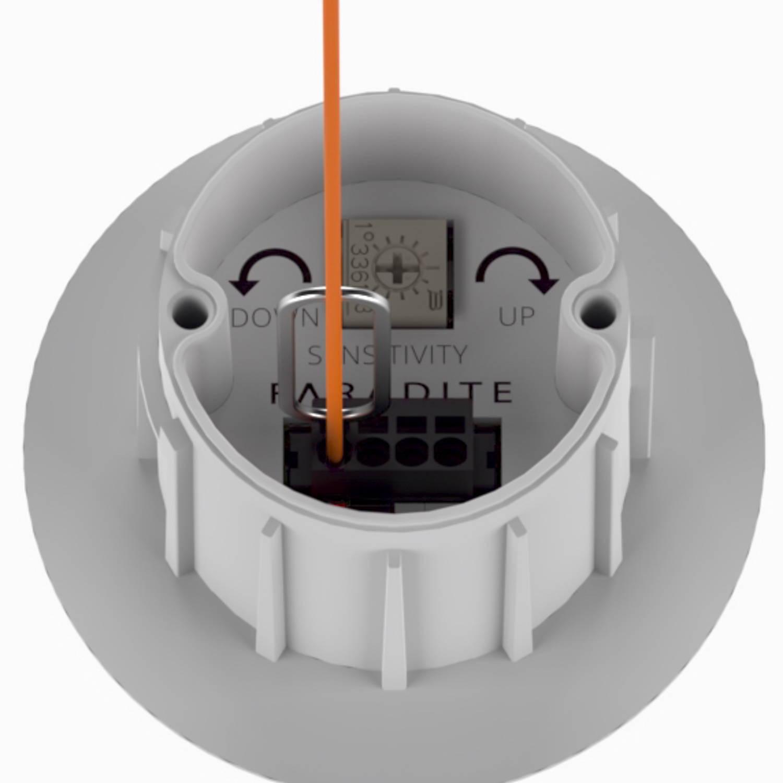 White Faradite IP67 Motion Sensor 360 dry contact terminals