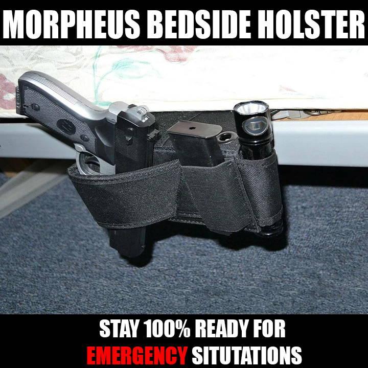mattress gun holster, bedside holster, under bed gun holster