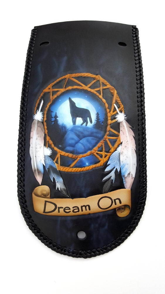 airbrushed dreamcatcher custom fender bib