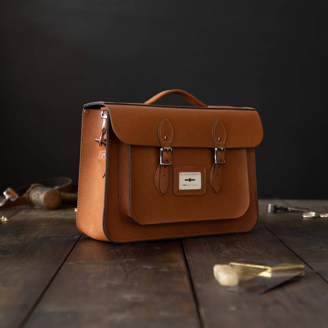 Tan 15 inch Leather Work Bag