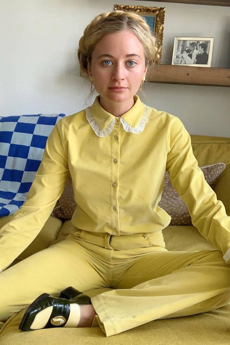 New York Journalist, Harling Ross from Repeller, wears YOLKE's Sunshine Corduroy Belle Blouse and Bow Jean