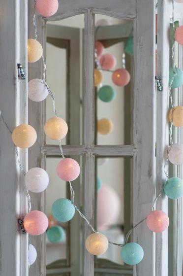 """Гирлянда тайская, светодиодная, 20 шариков, """"Pastel"""""""